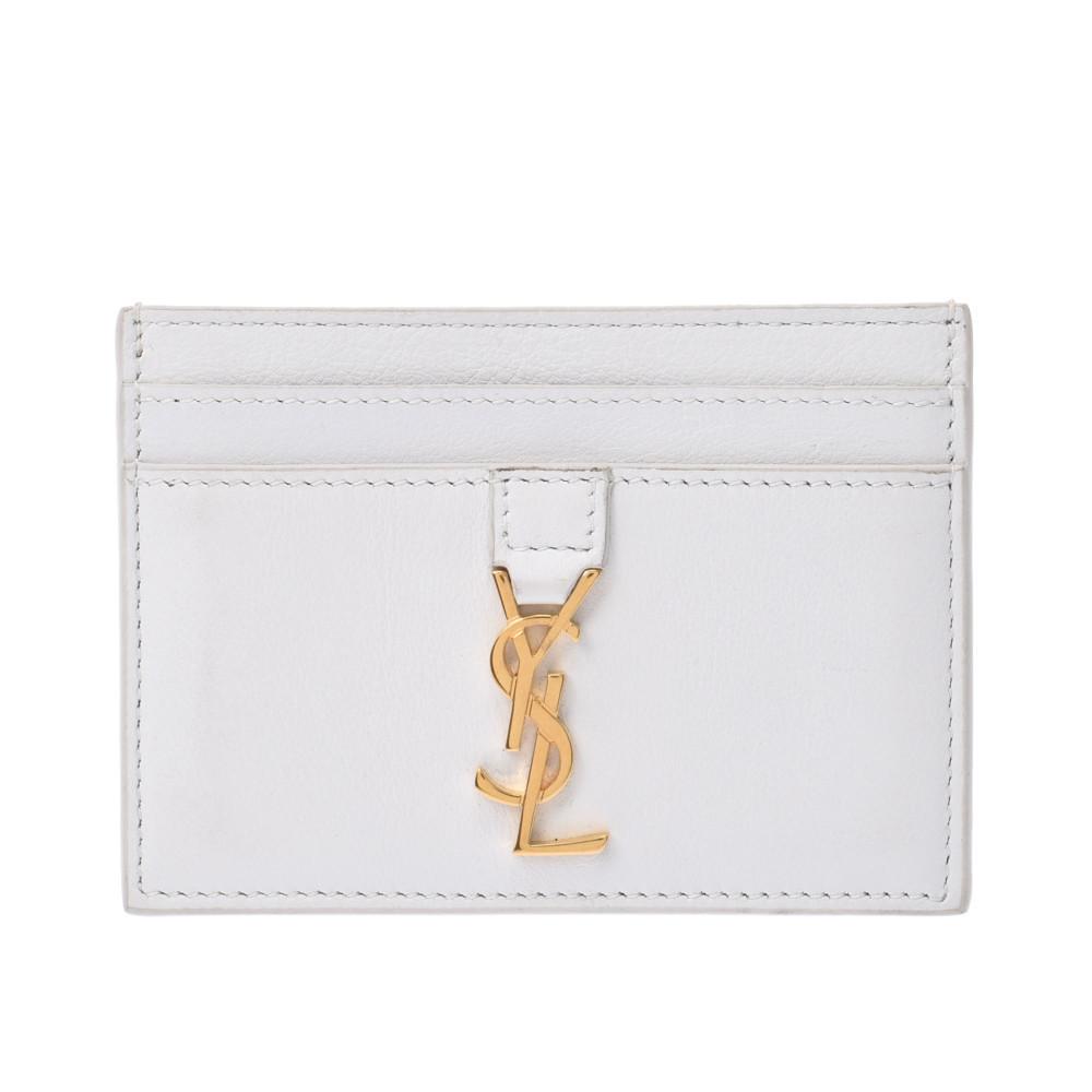 SAINT LAURENT white gold metal fittings ladies calf card case