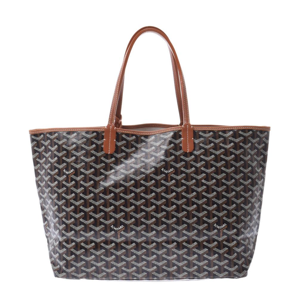 GOYARD Goyard Saint Louis PM Handbag Black Brown Unisex PVC Leather Tote Bag