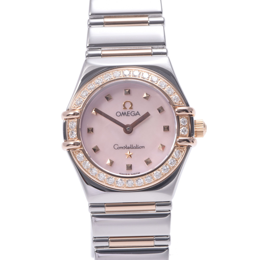 OMEGA Omega Constellation My Choice Bezel Diamond 1368.73 Ladies Stainless Steel PG Watch Quartz Pink Shell Dial