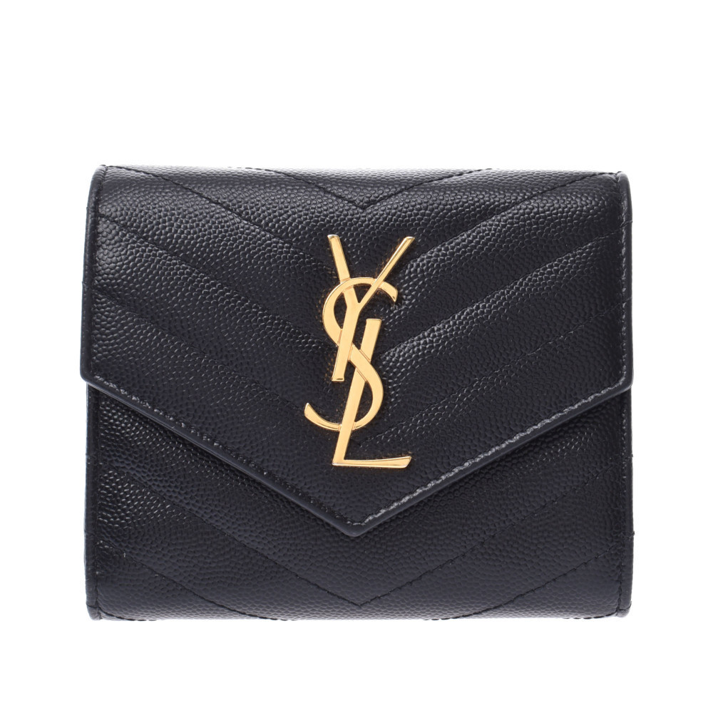SAINT LAURENT Envelope Wallet Quilting Stitch Black Women's Leather Bi-Fold