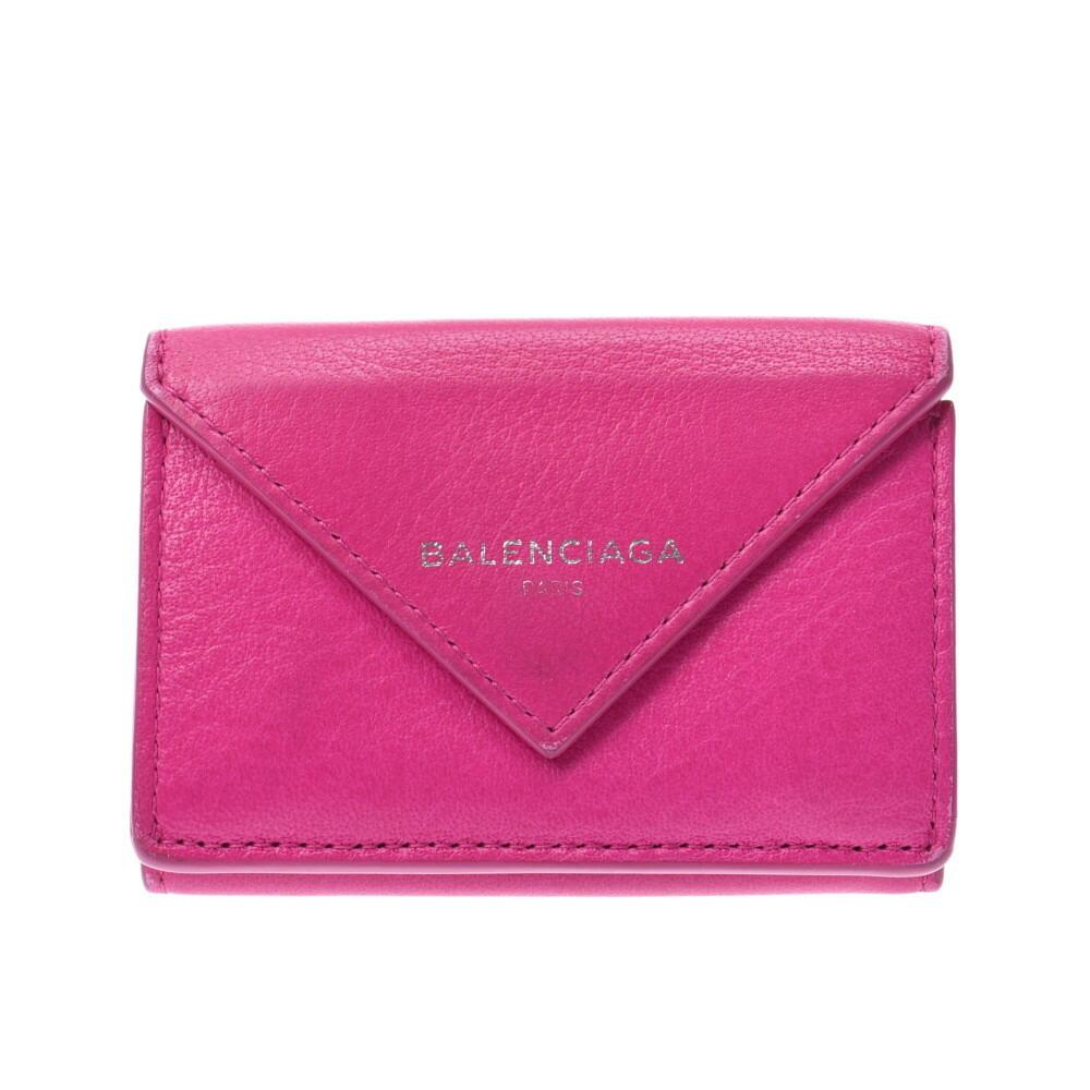 BALENCIAGA Paper Mini Wallet Pink 391446 Ladies Calf Tri-Fold