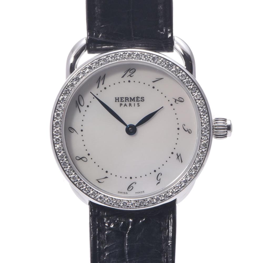 HERMES Hermes Arseau Bezel Diamond AR5.230 Ladies Stainless Steel Leather Wrist Watch Quartz White Shell Dial