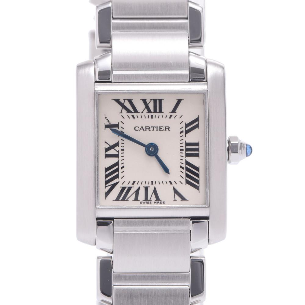 CARTIER Cartier Tank Francaise SM W51008Q3 Ladies Stainless Steel Wrist Watch Quartz Ivory Dial