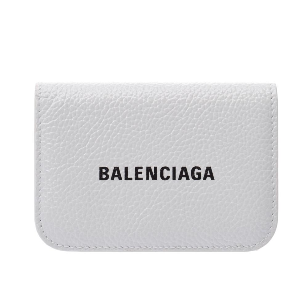 BALENCIAGA Mini Wallet White 593813 Unisex Calf Tri-Fold