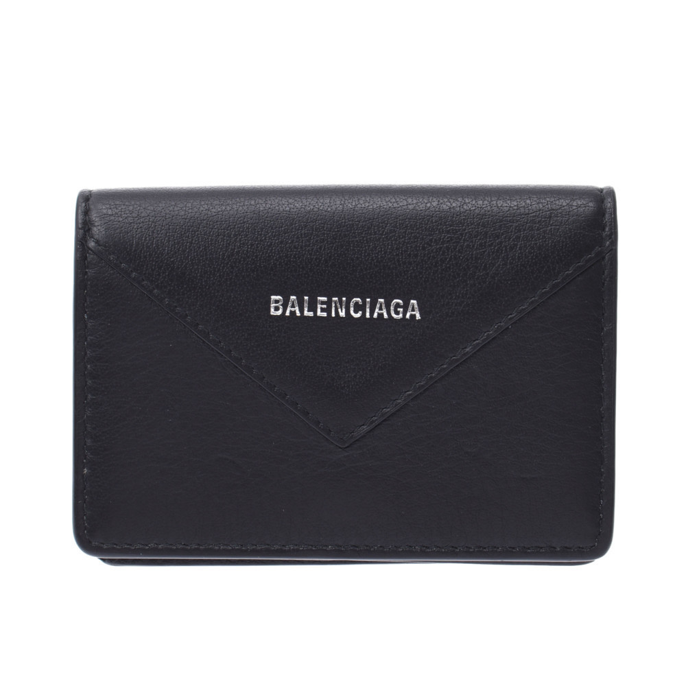 BALENCIAGA Paper Card Case Black 505238 Unisex Calf Business Holder