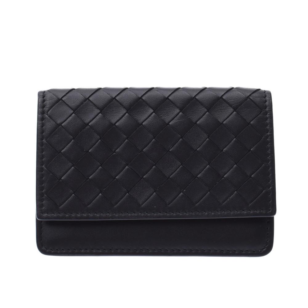BOTTEGA VENETA Intrecciato Business Card Holder Black Unisex Leather Case