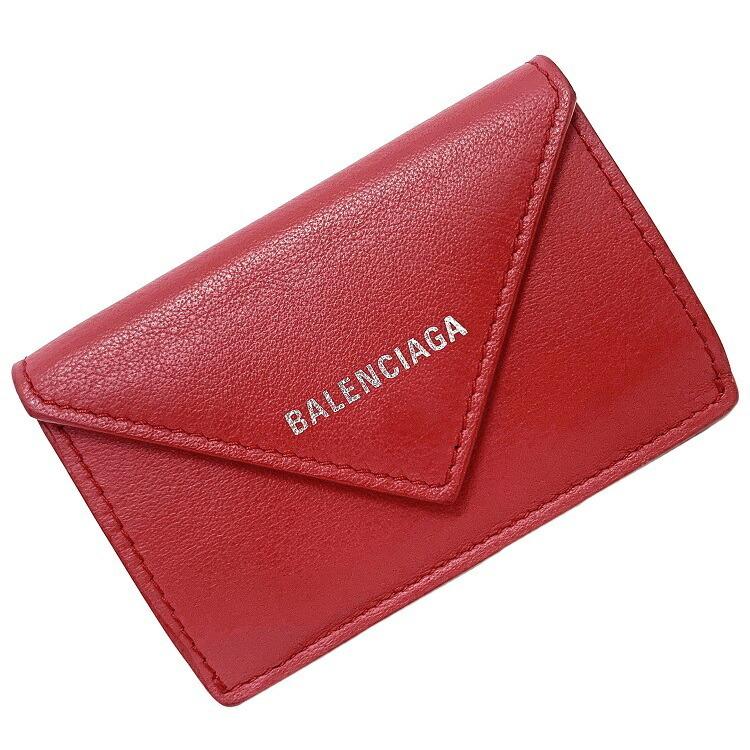 Balenciaga Mini Red Paper 391446 6525 Leather BALENCIAGA Ladies Tri-Fold Wallet Silver