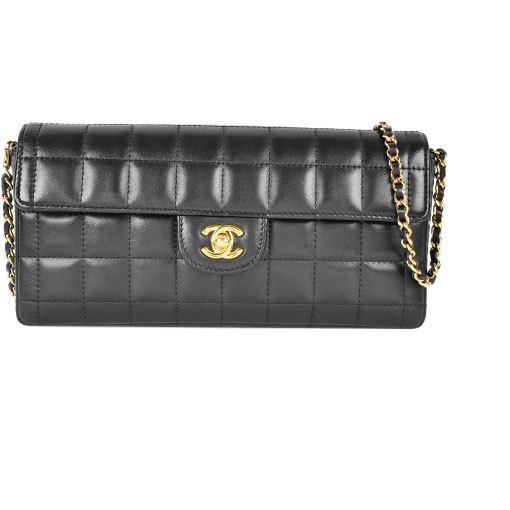 Chanel CHANEL Chain Shoulder Bag Chocolate Bar Lambskin Black Gold Hardware A15316
