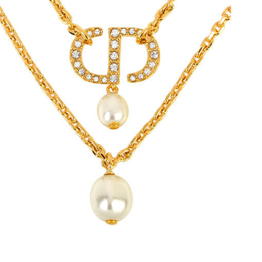 Christian Dior Dior Petit CD Double Necklace Crystal Resin Pearl Metal 36cm