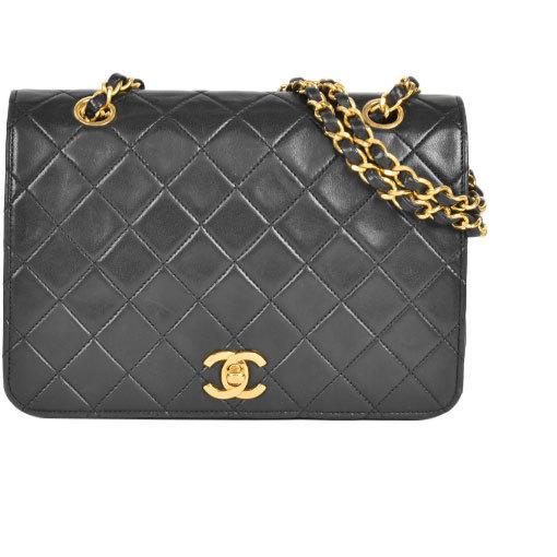 Chanel CHANEL Shoulder Bag Double Chain Lambskin Black Gold Hardware
