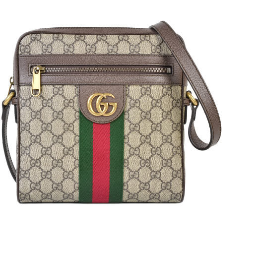 Gucci GUCCI GG Small Messenger Bag Offidia Supreme Canvas x Leather Gold Hardware 547926