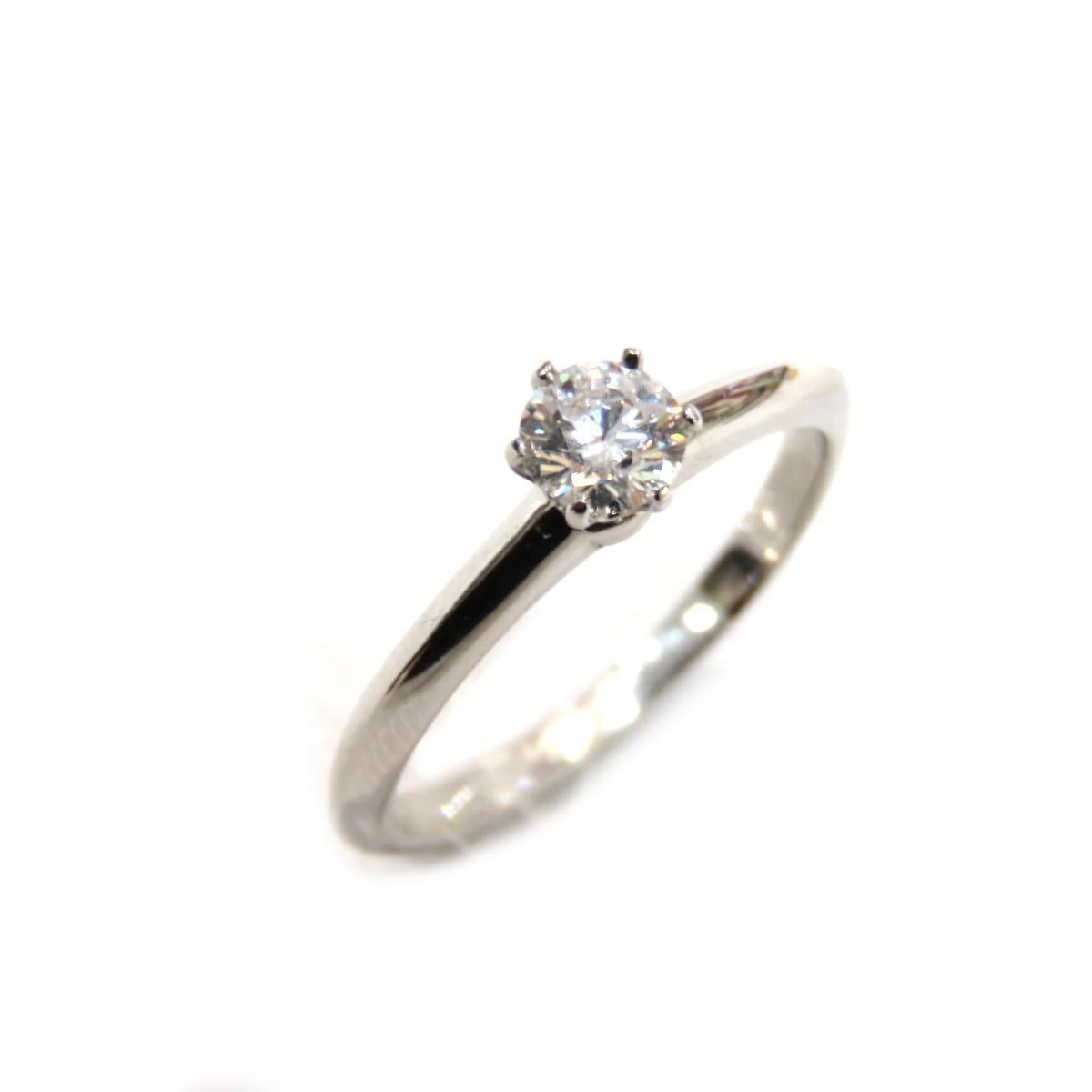 TIFFANY & CO Solitaire Ring Ladies PT950 Diamond (D0.24ct) No. 9