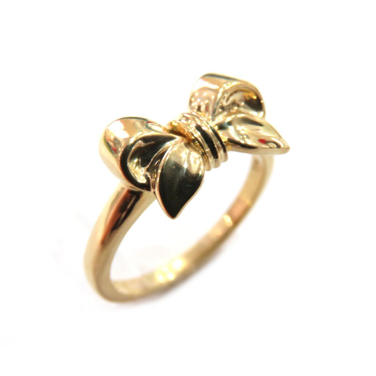 TIFFANY & CO Ribbon Ring Ladies K18YG (750) No. 8