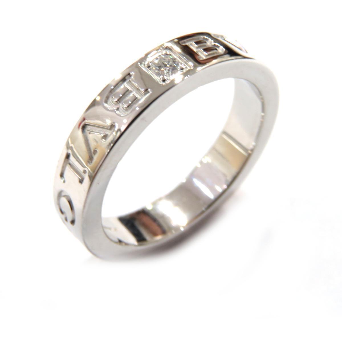BVLGARI double 1PD ring ladies K18WG (750) diamond 11.5