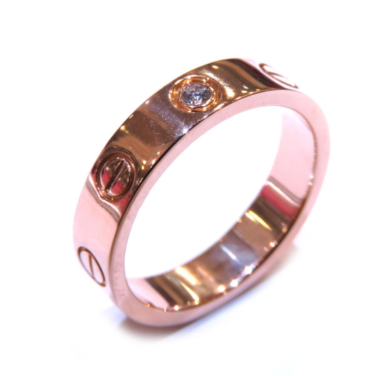 Cartier Mini Love 1PD Ring Ladies K18PG (750) Diamond # 46 No. 6