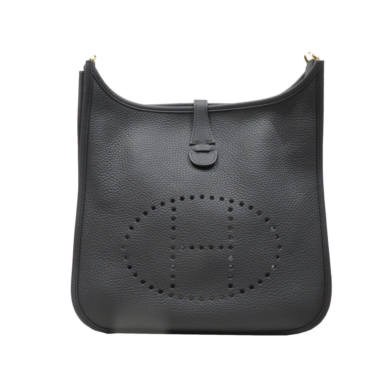 HERMES Evelyn PM Shoulder Bag Ladies Men's Black (Gold Metal Fittings) Taurillon Clemence
