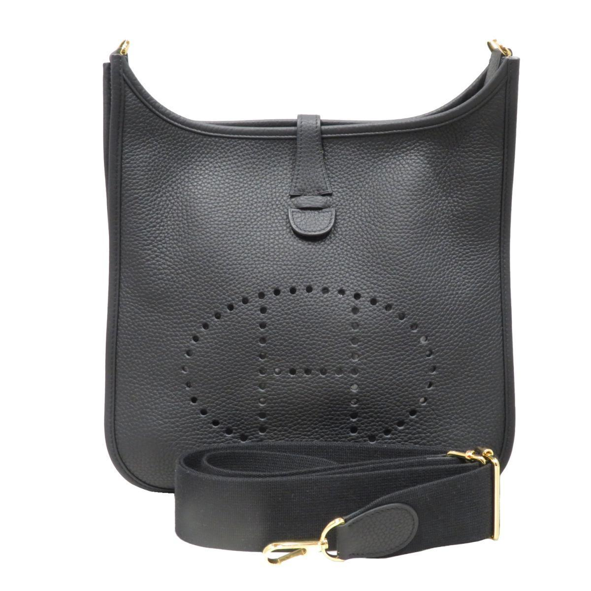 HERMES Evelyne PM Shoulder Bag Ladies Men's Black (Gold hardware) Taurillon Clemence
