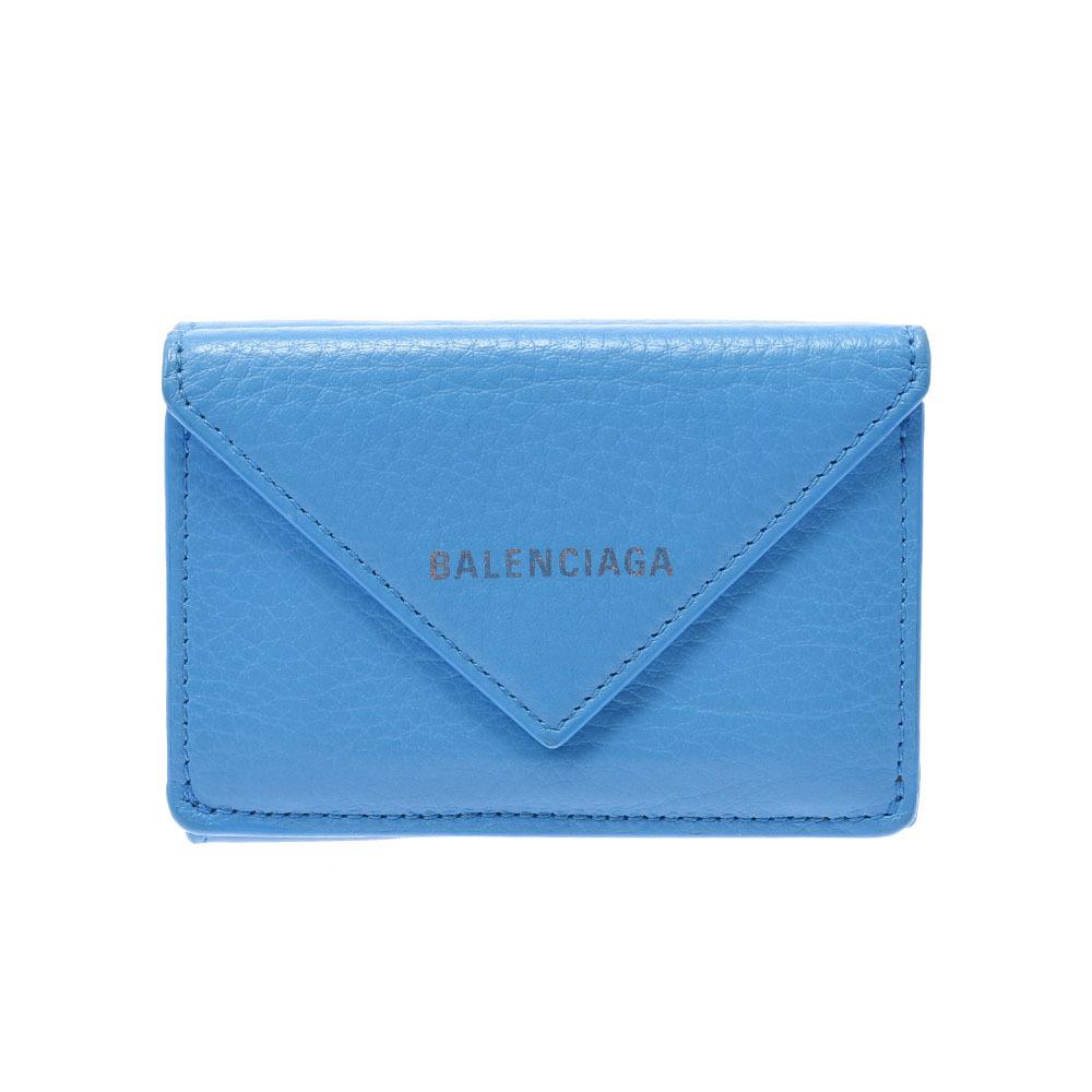 BALENCIAGA Paper Mini Wallet Blue 391446 Unisex Calf Tri-Fold
