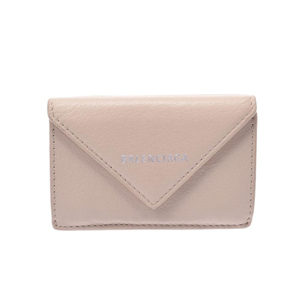 BALENCIAGA Paper Mini Wallet Beige 391446 Unisex Calf Tri-Fold
