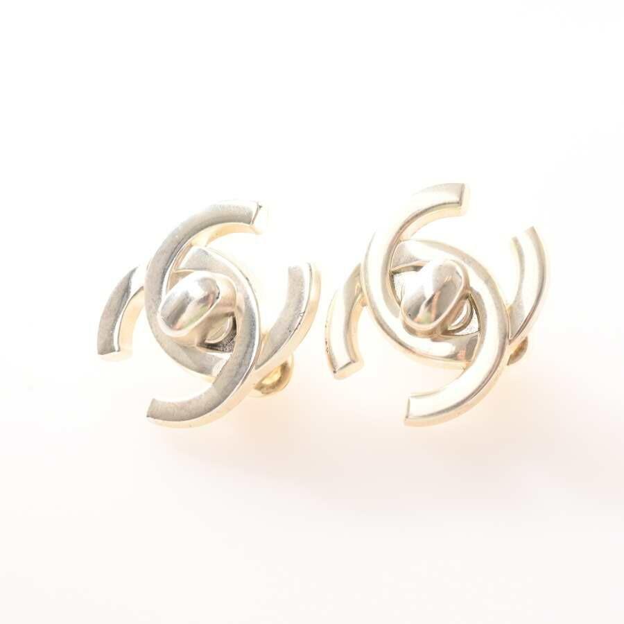 Chanel CHANEL Coco Mark Turn Lock Earrings Silver Metal