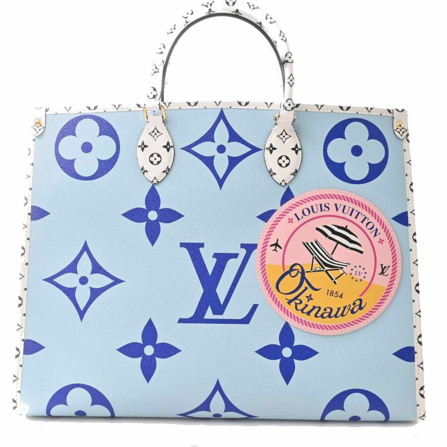 Louis Vuitton LOUIS VUITTON Giant Monogram on the Go GM 2WAY Tote Bag Leather 2019 Summer Resort Collection Okinawa Limited Blue PVC