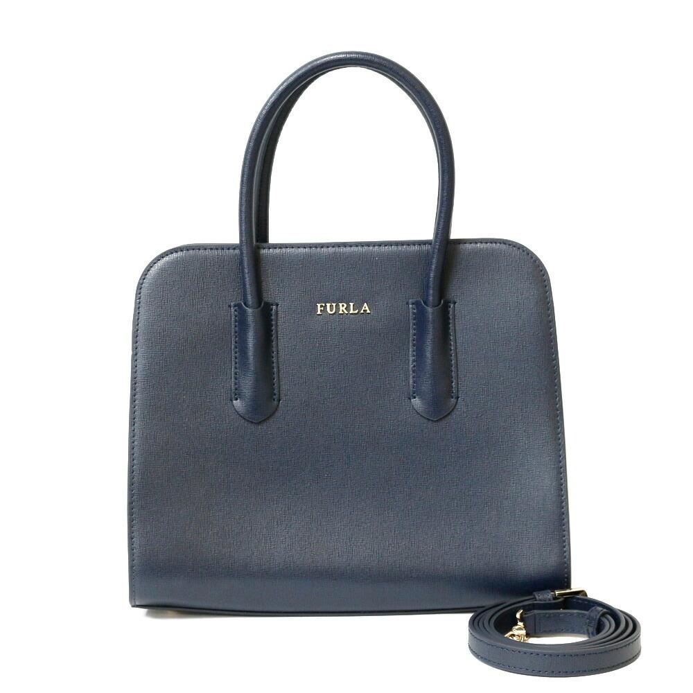Furla Shoulder Bag Blue Navy Women's Leather