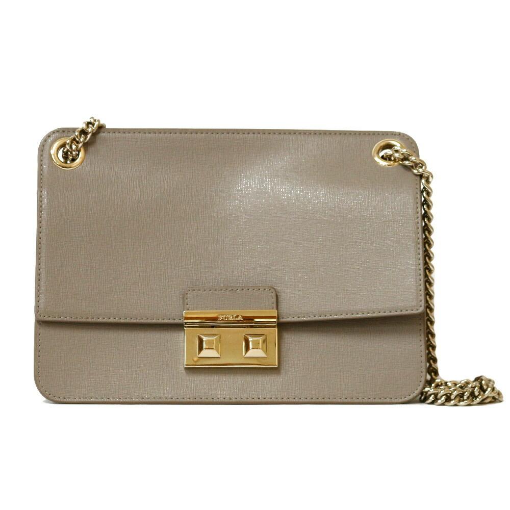 Furla Shoulder Bag Chain Gray Women's Leather