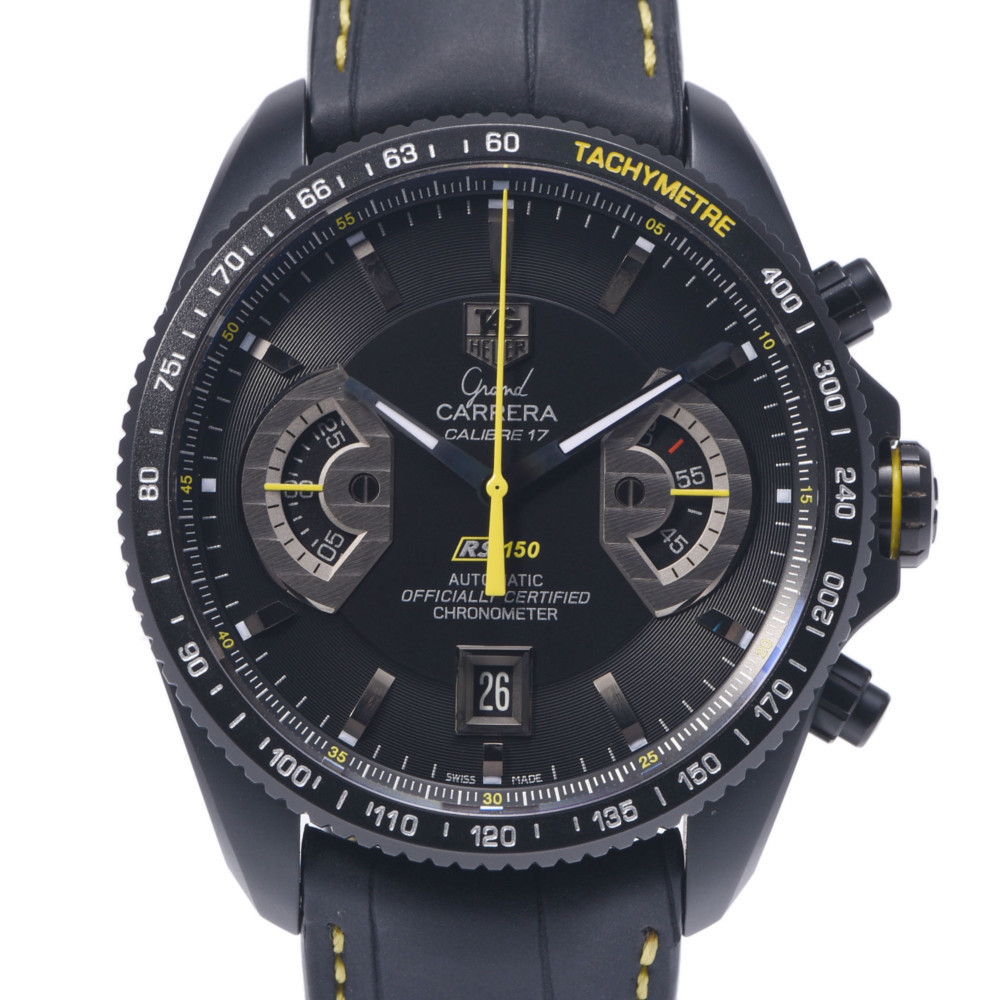 TAG HEUER Grand Carrera Limited to 150 CAV518JTI Men's TI Rubber Watch Automatic Black Dial