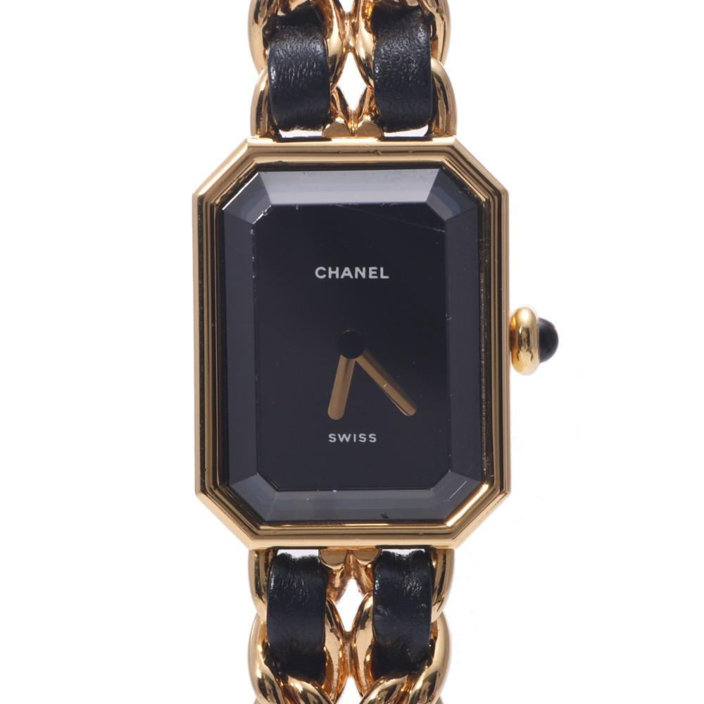 CHANEL Chanel Premiere Size M Ladies GP Leather Watch Quartz Black Dial