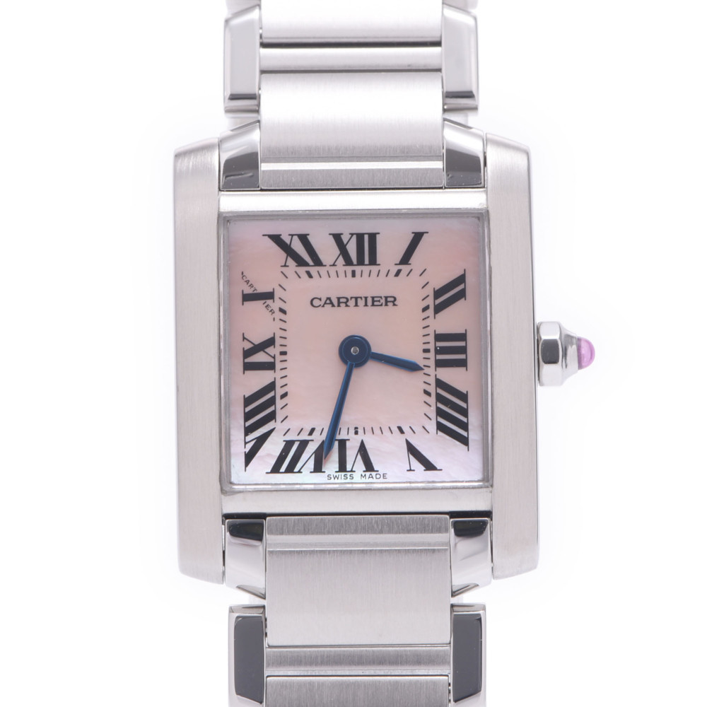 CARTIER Cartier Tank Francaise SM 2384 Ladies Stainless Steel Wrist Watch Quartz Pink Shell Dial