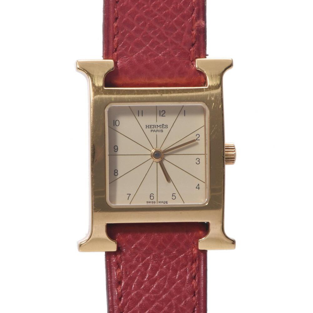 HERMES Hermes H Watch HH1.201 Ladies GP Leather Quartz Ivory Dial