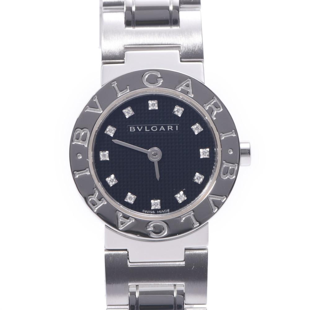 BVLGARI Bvlgari 23 12P Diamond BB23SS Ladies Stainless Steel Watch Quartz Black Dial