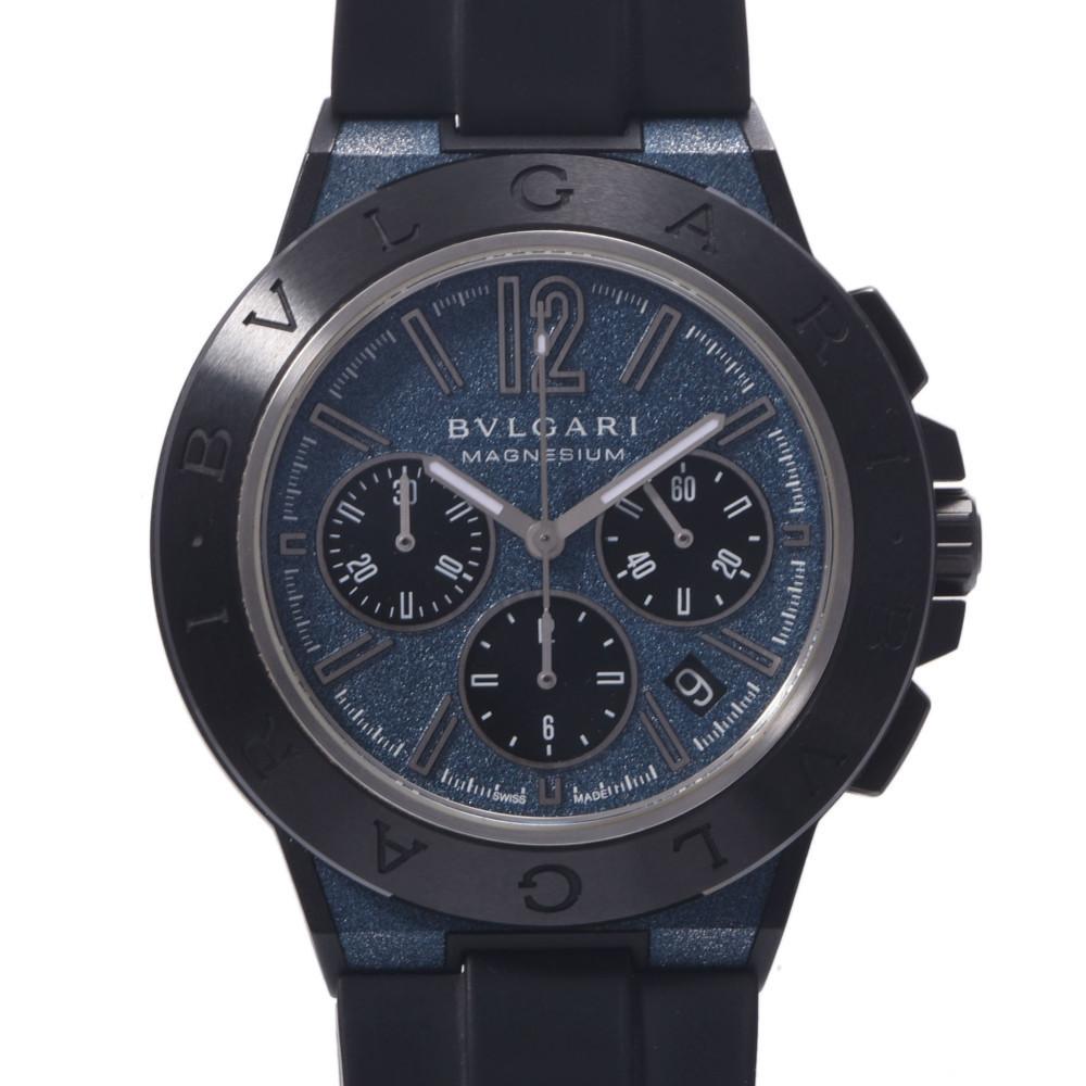 BVLGARI Bvlgari Diagono Magnesium Chrono DG42SMCCH Men's Ceramic Rubber Wrist Watch Automatic Blue Dial