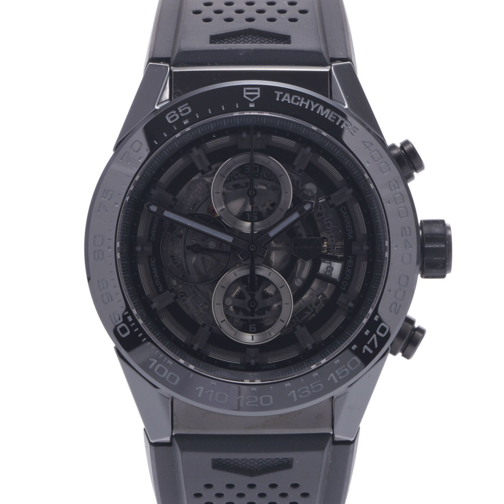 TAG HEUER Carrera Chrono back scale CAR2A90.FT6071 Men's ceramic rubber watch self-winding see-through dial