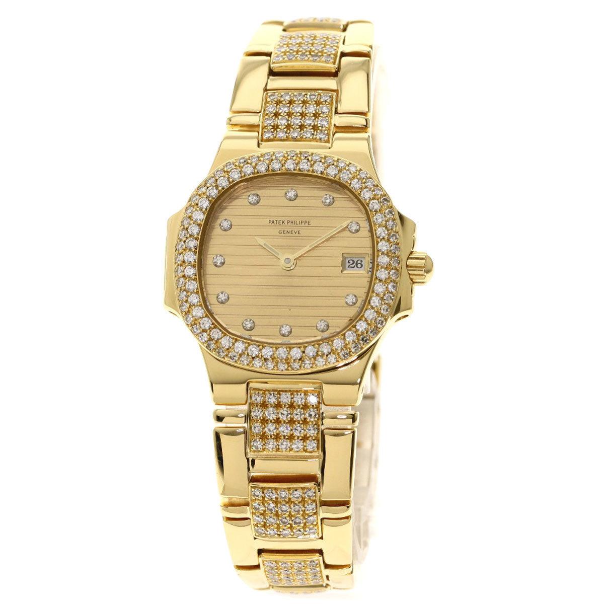 Patek Philippe 4700 55J-011 Nautilus Diamond Maker Complete Watch K18 Yellow Gold K18YG Ladies