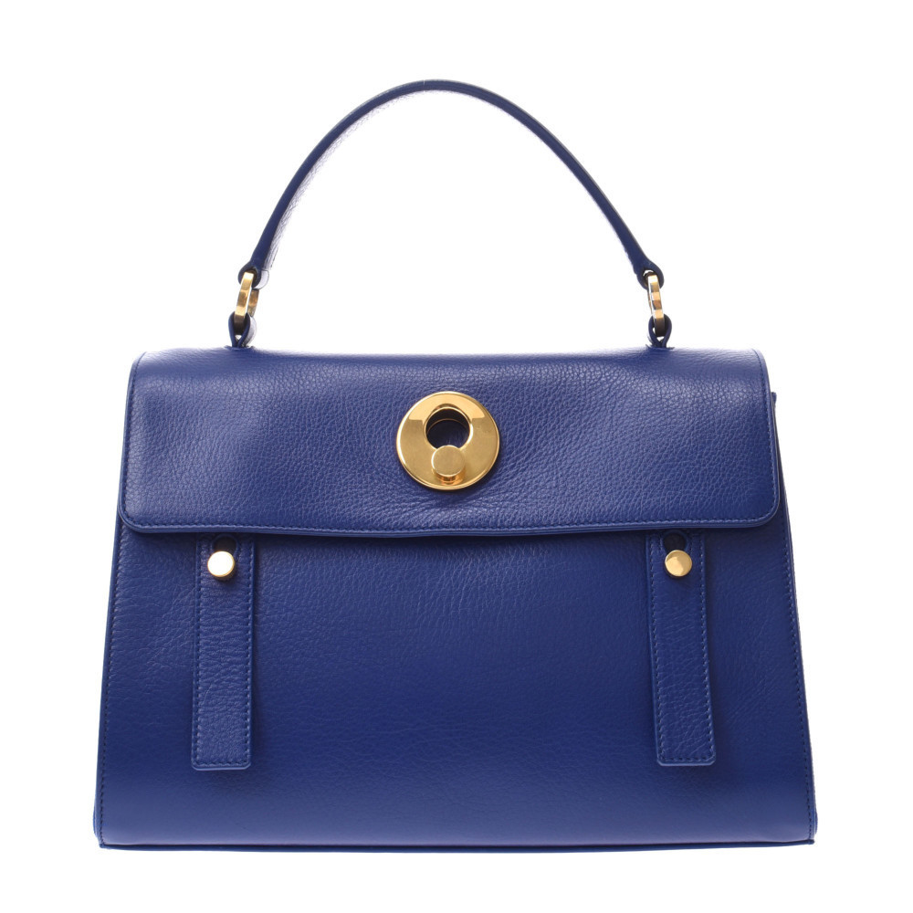 SAINT LAURENT Muse toe 2WAY bag blue gold metal fittings 313499 ladies calf canvas handbag