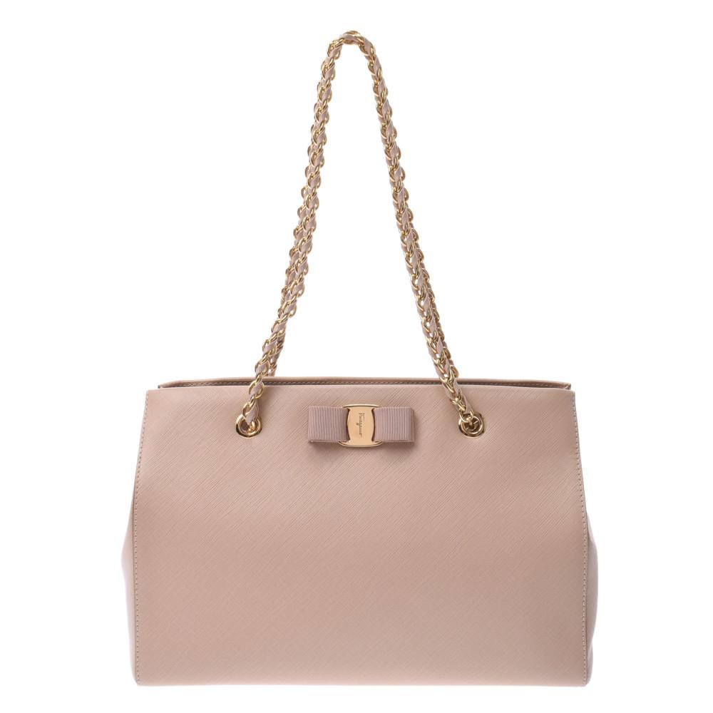 Salvatore Ferragamo Vala Chain Bag Beige Gold Hardware Women's Leather Handbag