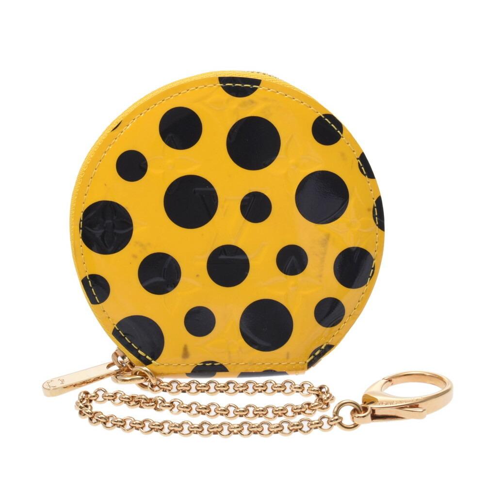 LOUIS VUITTON Louis Vuitton Verni Porto Moneshapo Yayoi Kusama Yellow Black M91569 Unisex Monogram Coin Case