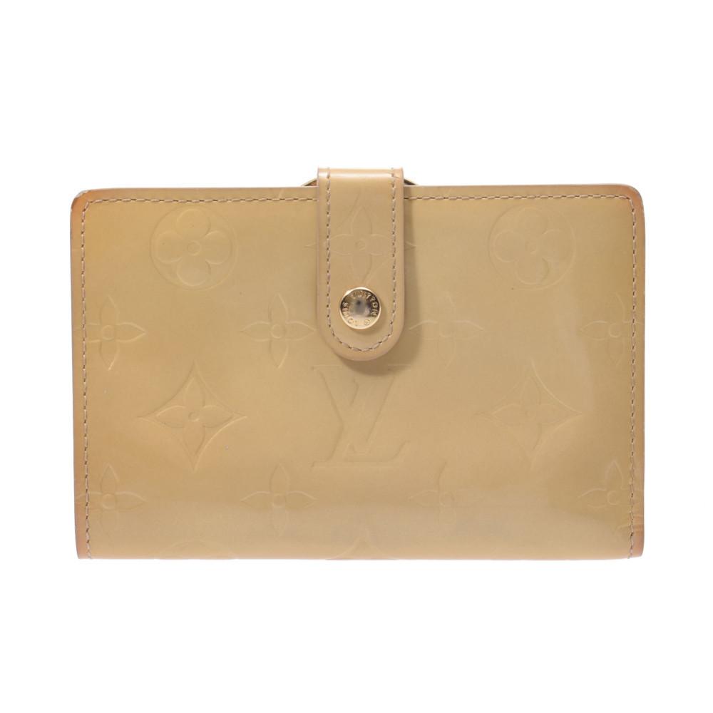 LOUIS VUITTON Louis Vuitton Verni Porto Monevier Vienois Beige M91361 Ladies Monogram Bi-Fold Wallet