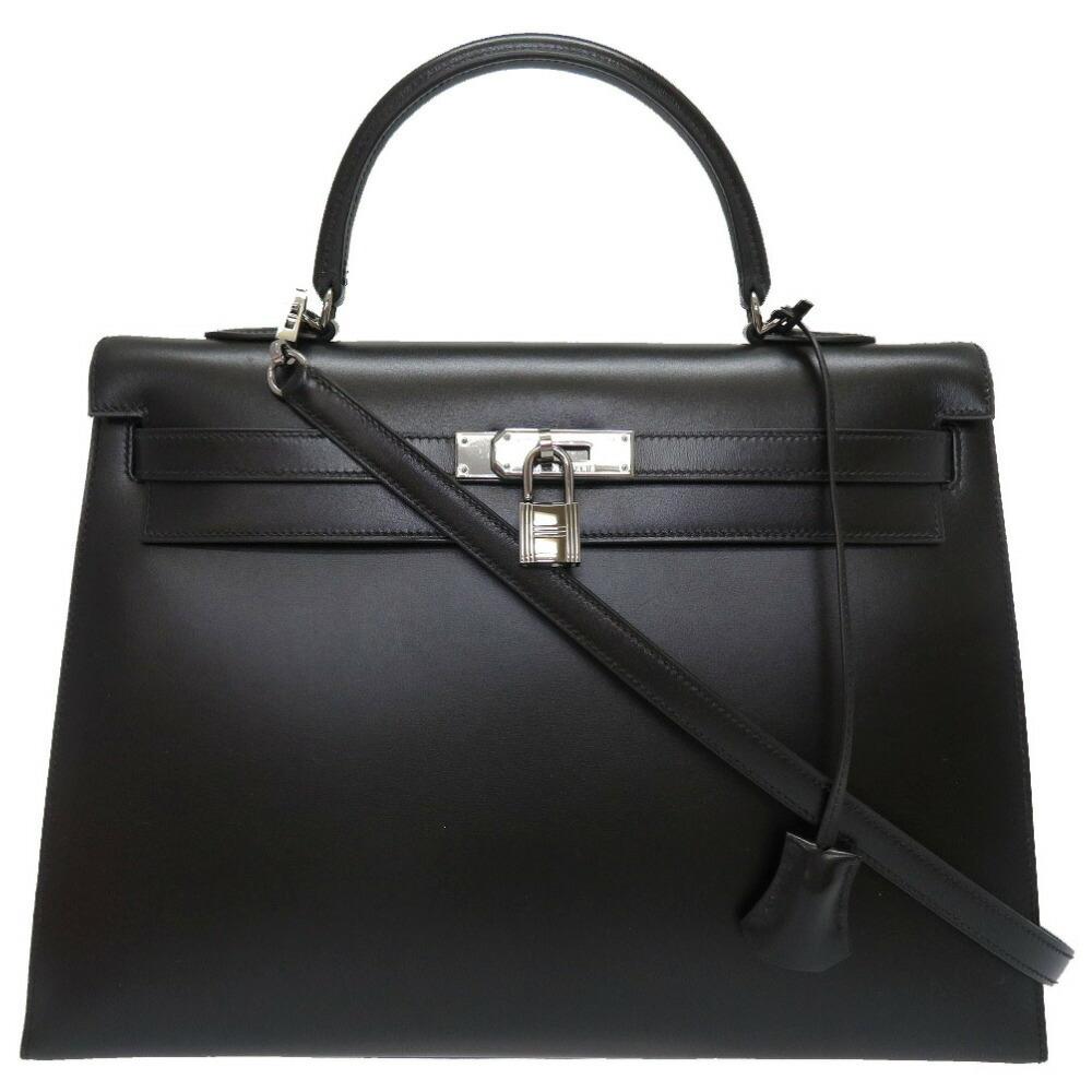 エルメス(Hermes) エルメス ケリー35 外縫い ボックスカーフ ブラック ルテニウム金具 □G刻印 ハンドバッグ バッグ 黒 0059  HERMES