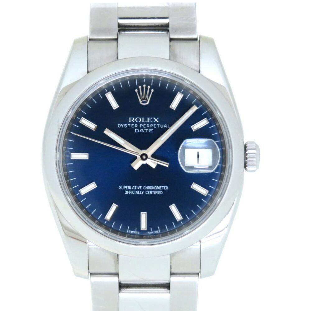 ロレックス オイスターパーペチュアル デイト 115200 自動巻き 腕時計 ステンレススチール ネイビー文字盤 V番 0045ROLEX メンズ