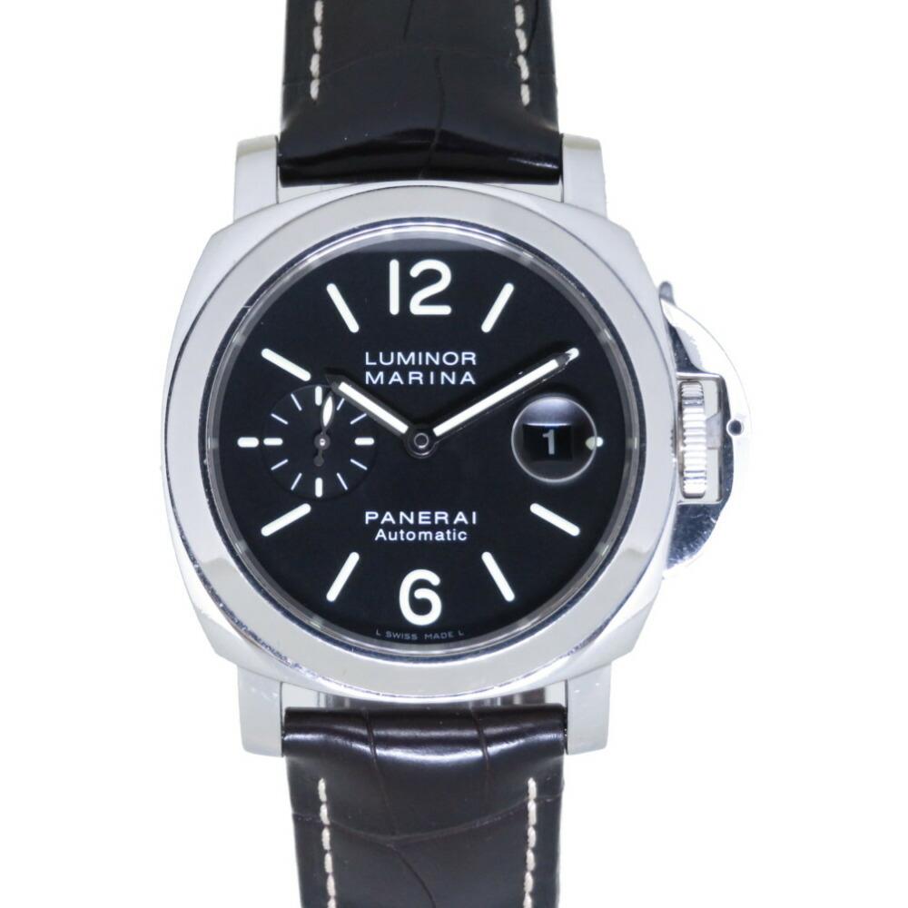 オフィチーネ パネライ ルミノール マリーナ PAM00104 自動巻き 腕時計 SS/型押しレザー ブラック 黒文字盤 0047OFFICINE PANERAI メンズ