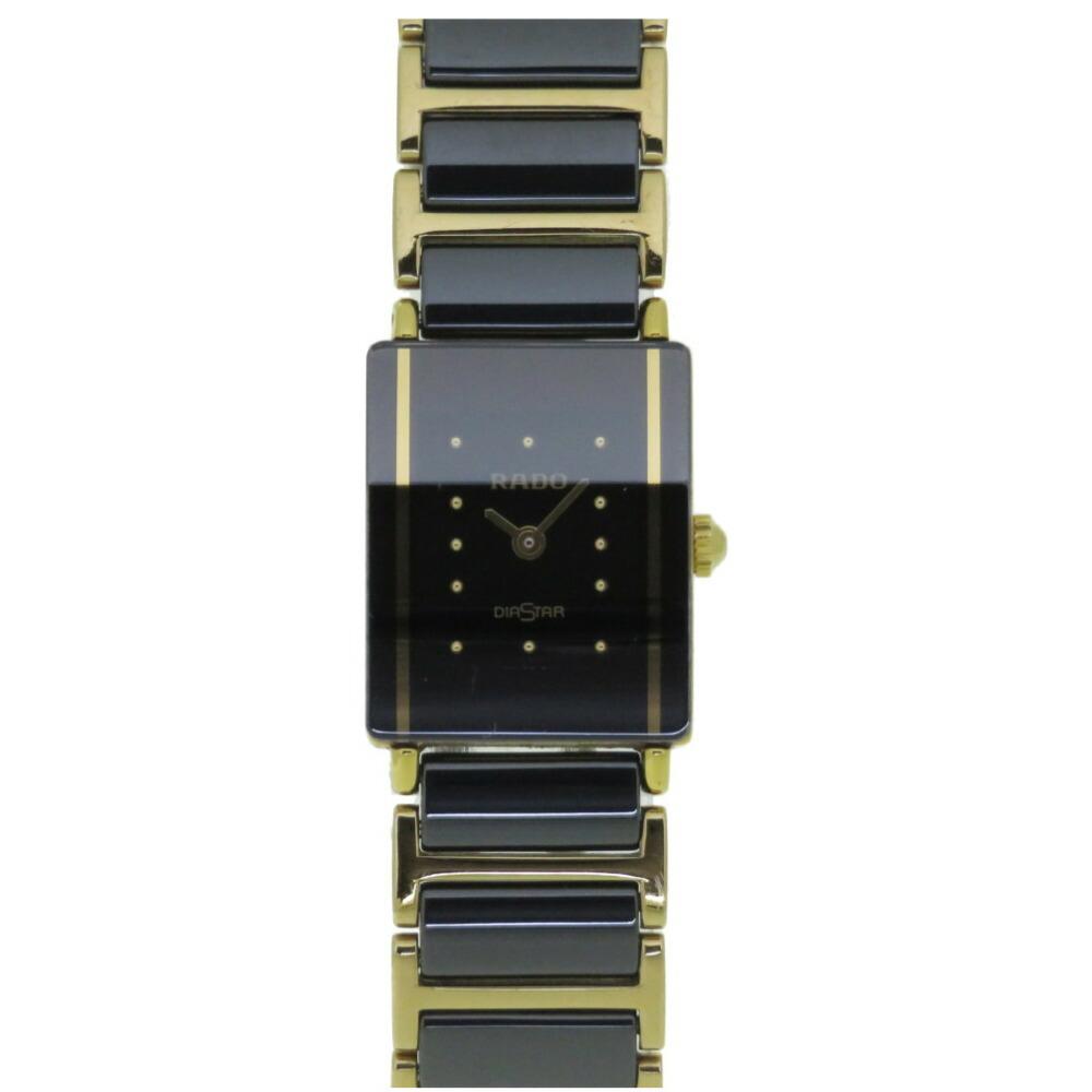 ラドー ダイヤスター クオーツ 腕時計 チタン/セラミック/SS ブラック 黒文字盤 0025RADO レディース