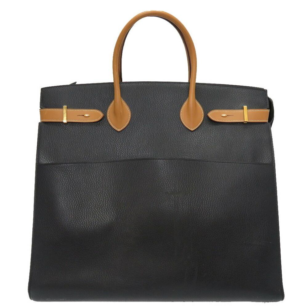 エルメス(Hermes) エルメス エアポート アルデンヌ ヴァッシュ ナチュラル ブラック ゴールド金具 〇T刻印 ハンドバッグ バッグ 黒 0058  HERMES メンズ