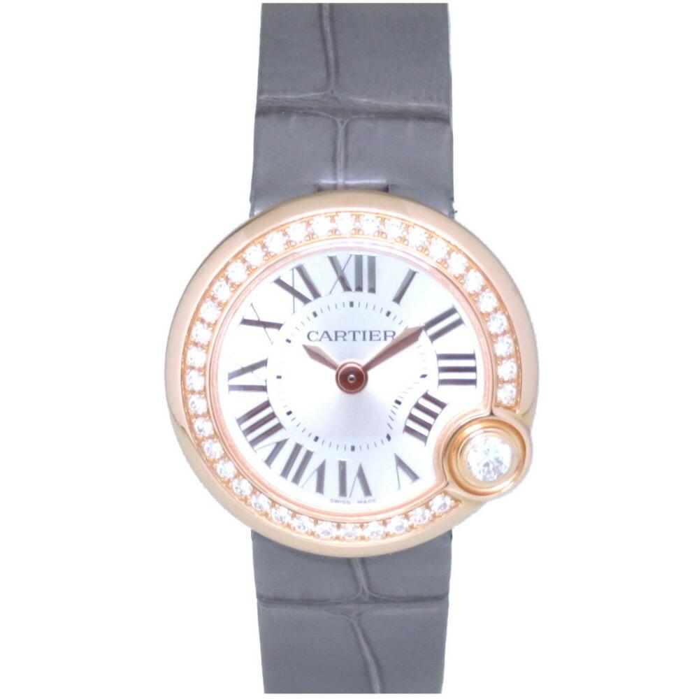 カルティエ バロン ブラン ドゥ カルティエ ダイヤベゼル ピンクゴールド WJBL0006 クオーツ 腕時計 シルバー文字盤 0048CARTIER レディース