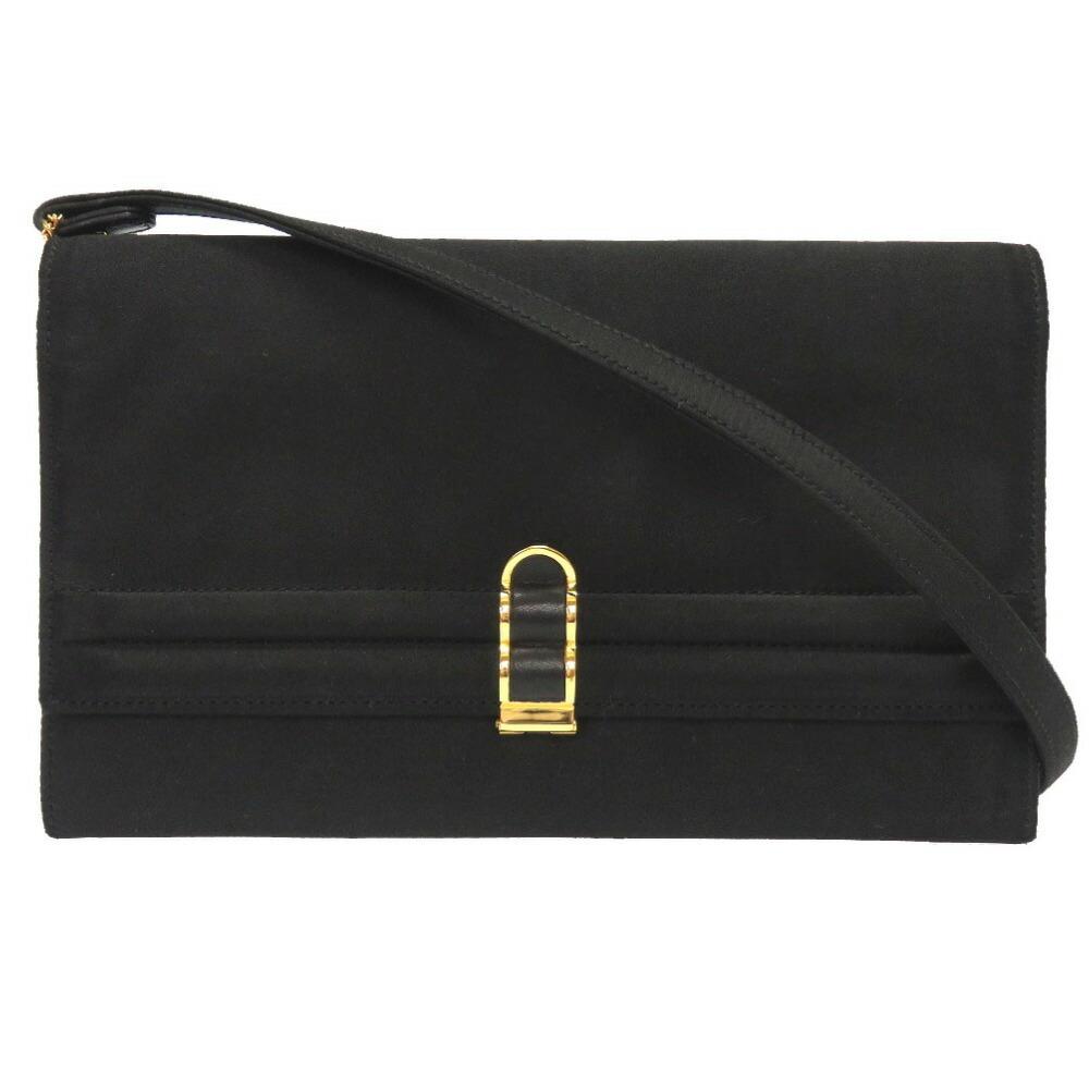 エルメス(Hermes) エルメス クックテイル サテン ブラック ゴールド金具  〇M刻印 ショルダーバッグ バッグ 黒 0034  HERMES