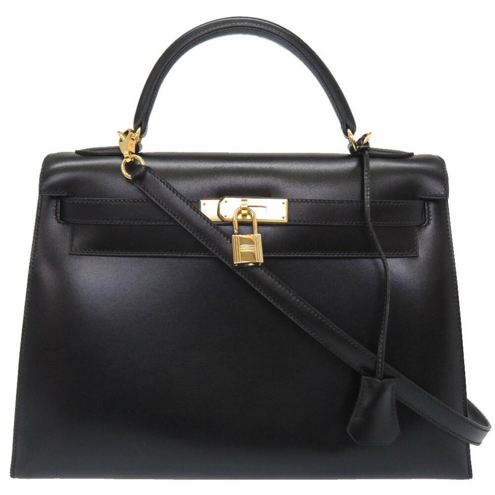エルメス(Hermes) エルメス ケリー32 外縫い ボックスカーフ ブラック ゴールド金具 □D刻印 ハンドバッグ バッグ 黒 0036  HERMES