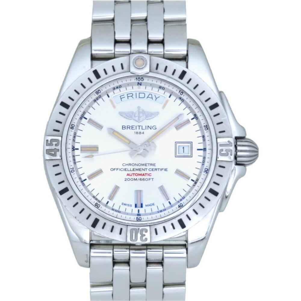 ブライトリング ギャラクティック44 自動巻き 腕時計 SS シルバー文字盤 オートマ 0044BREITLING メンズ