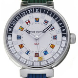 Louis Vuitton Tambour Moon Dual Time GM Men's Watch QA096 Stainless Steel Silver Dial