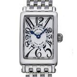 Franck Muller Long Island Petit Ladies Watch 802QZ 0AC Stainless Steel Silver Arabian Dial
